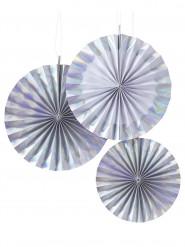 3 Rosaces éventails en papier iridescent