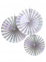 3 Rosaces en papier iridescentes
