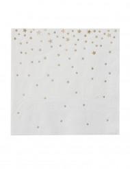 20 petites serviettes en papier étoiles or