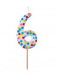Bougie d'anniversaire chiffre 6 pois colorés