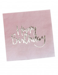 20 Serviettes en papier Happy Birthday rose et or 33 x 33 cm