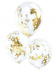 5 Ballons transparents confettis dorés