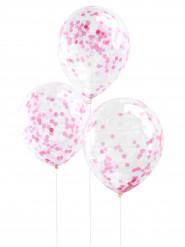 5 Ballons transparents confettis roses 30 cm