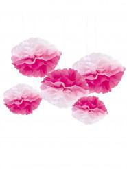 5 Pompons en papier à suspendre dégradés roses et blancs