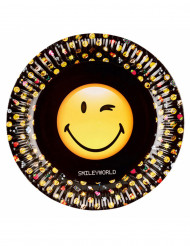 8 Assiettes en carton Smiley Emoticons™ 23 cm
