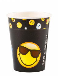 8 Gobelets en carton Smiley Emoticons™ 250 ml