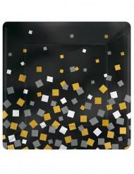 8 Assiettes carrées en carton confettis or & argent  26 cm