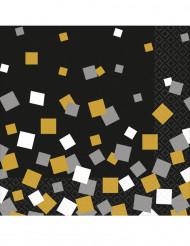 16 Serviettes en papier confettis or & argent 33 x 33 cm