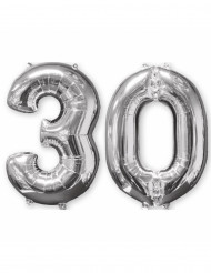 2 Ballons aluminium argent 30 ans 66 cm