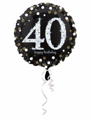 Ballon aluminium Happy Birthday scintillant 40 ans 45 cm