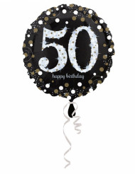 Ballon aluminium Happy Birthday scintillant 50 ans - 45 cm