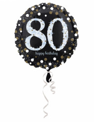 Ballon Aluminium Happy Birthday scintillant 80 - 45 cm