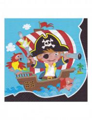20 Serviettes en papier Pirate 33 x 33 cm