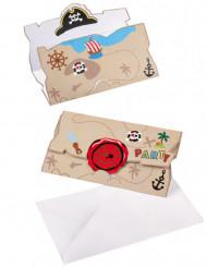 8 Invitations et enveloppes Pirate