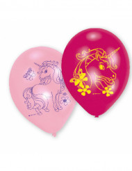 6 Ballons latex Licorne Arc-en-ciel