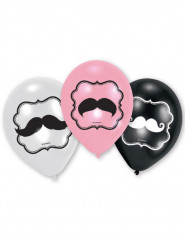 6 Ballons latex Moustache