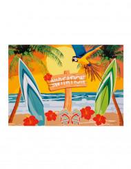 6 Cartes d'invitation Beach party 10 x 15 cm