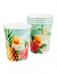 6 Gobelets en carton Hawaii party 25 cl