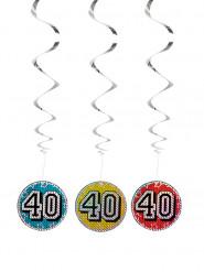 3 Décorations à suspendre 40 ans 60 cm