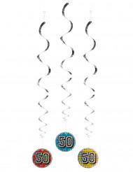 3 Décorations à suspendre 50 ans holographiques 60 cm
