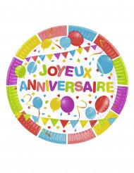 6 Assiettes en carton Ballons d'anniversaire 23 cm
