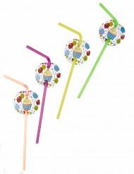 6 Pailles médaillon ballons d'anniversaire