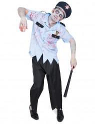Déguisement agent de police zombifié homme Halloween