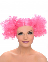 Perruque couettes boules rose femme