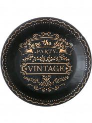 10 Assiettes noires en carton vintage 22,5 cm