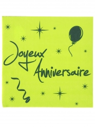20 Serviettes en papier Joyeux anniversaire 33 x 33 cm