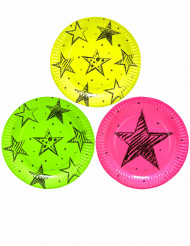 6 Assiettes en carton Neon Party 23 cm