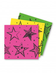 16 Serviettes en papier Neon Party 33x33cm