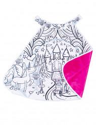 Cape lavable réversible rose et à colorier château de princesse fille