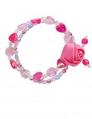 Bracelet fleur rose fille