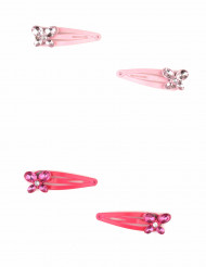 2 Barrettes roses papillon fille