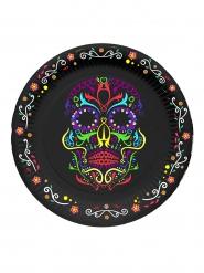 6 Petites assiettes en carton squelette coloré Dia de los muertos 17 cm