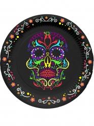 6 Assiettes en carton squelette coloré Dia de los muertos 23 cm