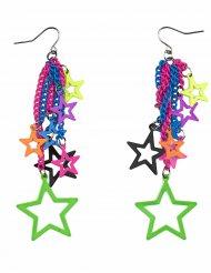 Boucles d'oreilles étoiles multicolores adulte