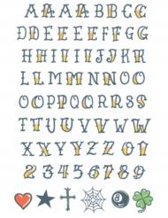 Tatouage ephémere corps alphabet adulte