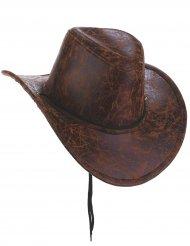 Chapeau de cowboy marron imitation cuir adulte