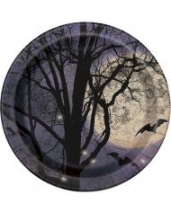 8 Assiettes en carton Clair de lune Halloween 23 cm