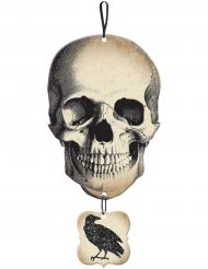 Panneau tête de mort et corbeau pailleté Halloween