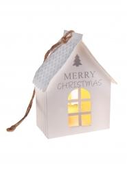 Suspension petite maison blanche lumineuse 6.5 x 9 x 4 cm