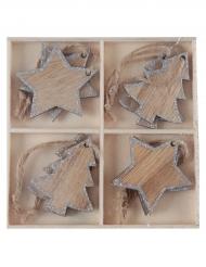 Assortiment de 8 décorations à suspensdre de Noël en bois argenté