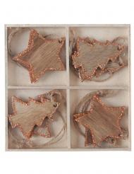 Assortiment de 8 décorations à suspendre Noël en bois cuivré