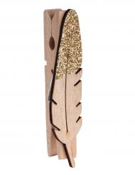 8 Pinces en bois plume pailletée or