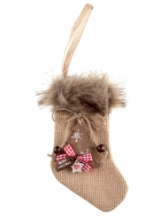 Chaussette fourrure Noël 10 x 16 cm