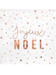 20 Serviettes en papier Joyeux Noël cuivré 25 x 25 cm