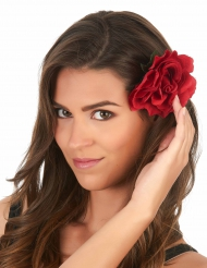 Barrette rose rouge adulte