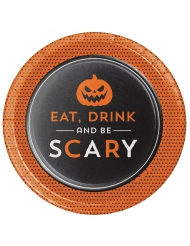 8 Assiettes en carton Halloween Eat Drink and Be scary 18 cm